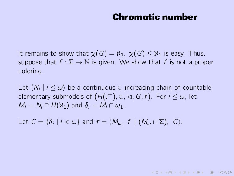 Chromatic number It remains to show that χ(G) =...