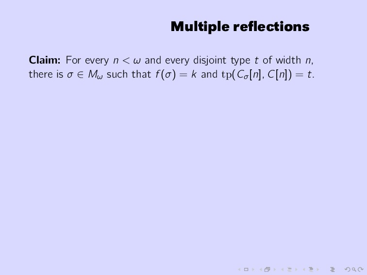 Multiple reflections Claim: For every n < ω and ...