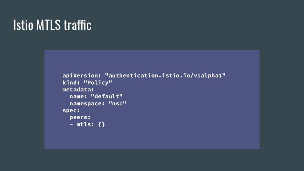 "Istio MTLS traffic apiVersion: ""authentication...."