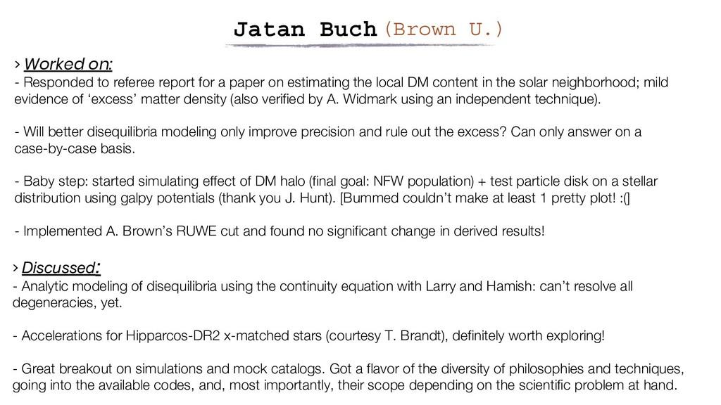 Jatan Buch(Brown U.) > Discussed: - Analytic mo...