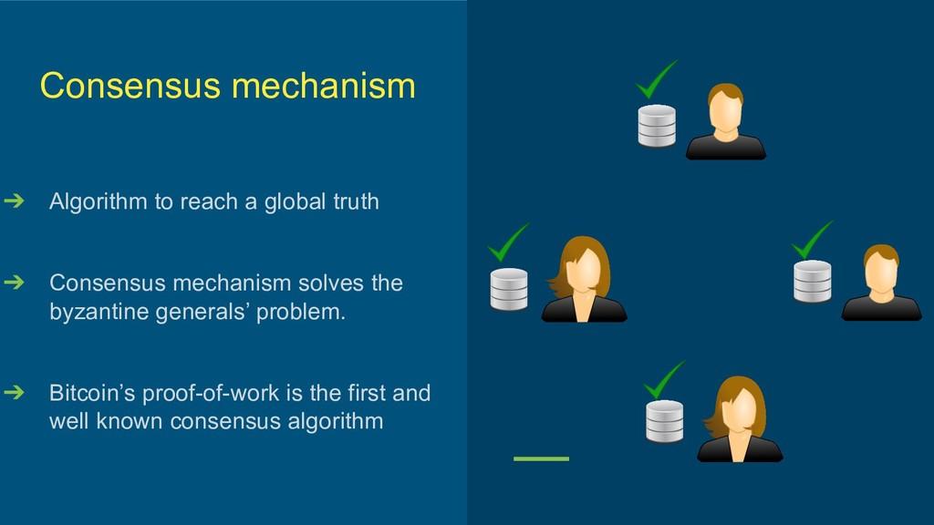 Consensus mechanism ➔ Algorithm to reach a glob...