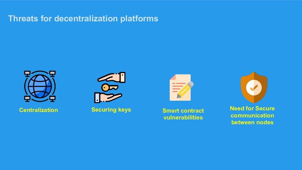 Threats for decentralization platforms Centrali...
