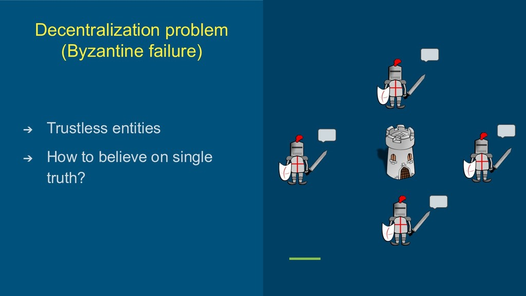 Decentralization problem (Byzantine failure) ➔ ...