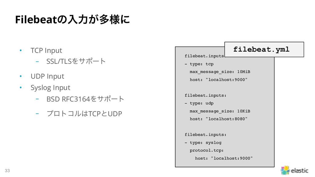 !33 Filebeatͷೖྗ͕ଟ༷ʹ • TCP Input ‒ SSL/TLSΛαϙʔτ ...