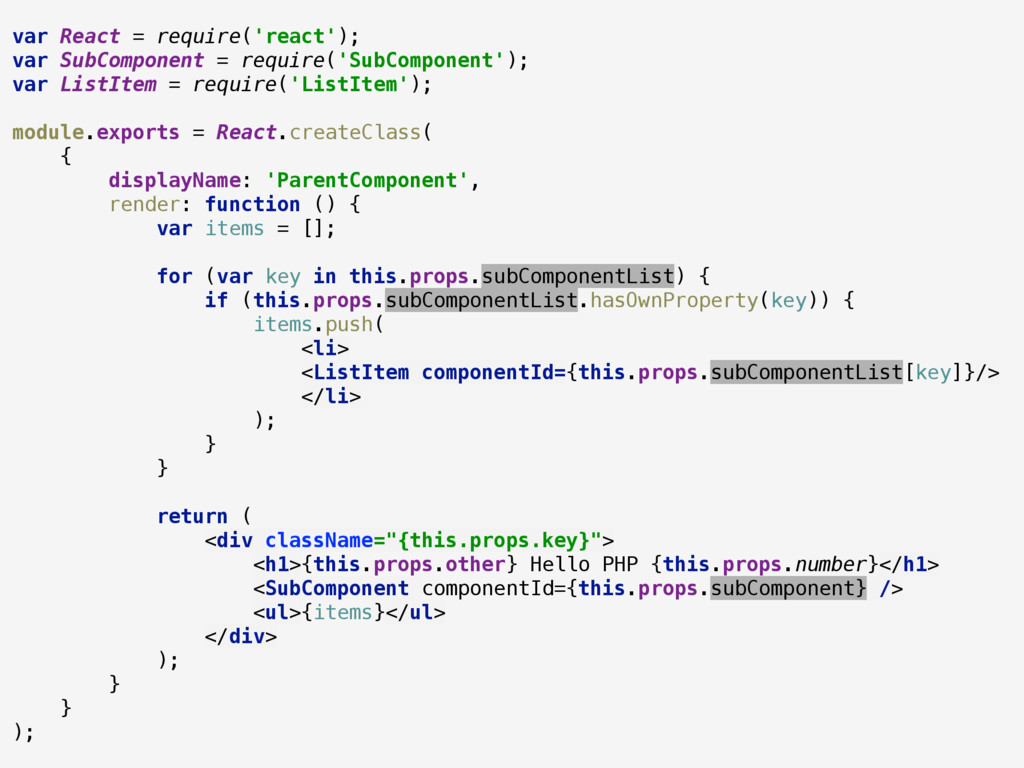 var React = require('react'); var SubComponent...