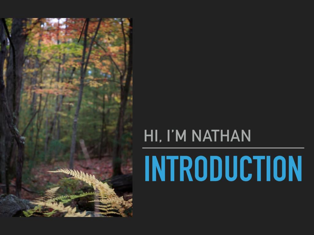 INTRODUCTION HI, I'M NATHAN