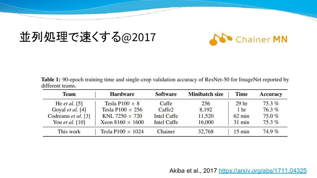 並列処理で速くする@2017 Akiba et al., 2017 https://arxiv...
