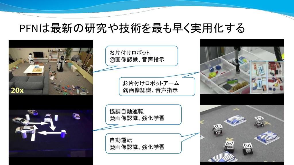 PFNは最新の研究や技術を最も早く実用化する お片付けロボット @画像認識、音声指示 お片付け...