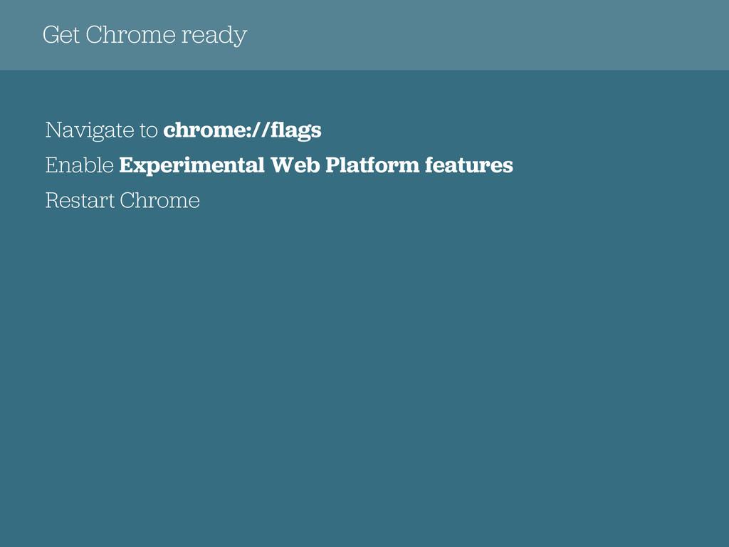 Get Chrome ready Navigate to chrome://flags Ena...