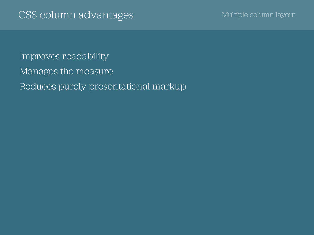 CSS column advantages Multiple column layout Im...