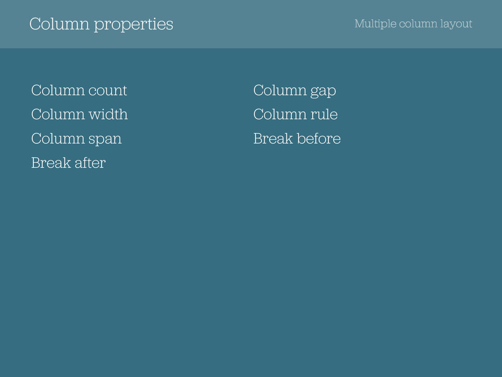 Column properties Column count Column width Col...