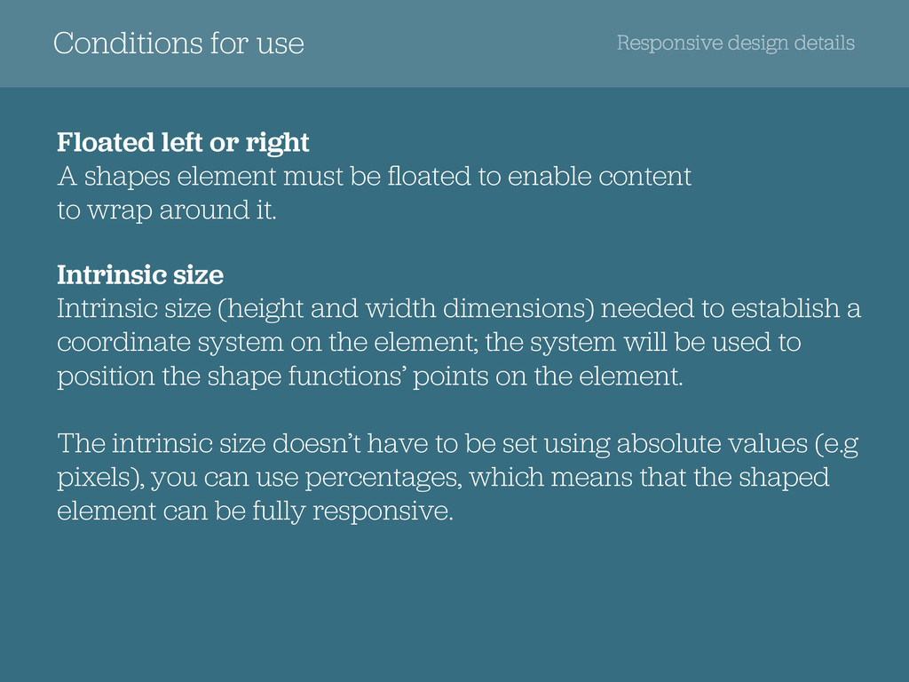 Conditions for use Responsive design details Fl...