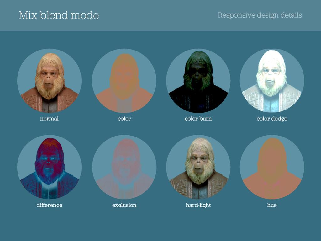 Mix blend mode Responsive design details normal...
