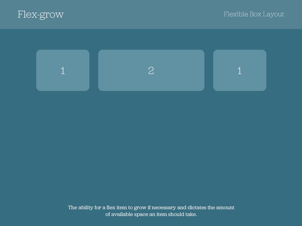 Flex-grow Flexible Box Layout 1 1 2 The ability...