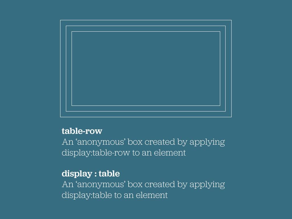 table-row An 'anonymous' box created by applyin...