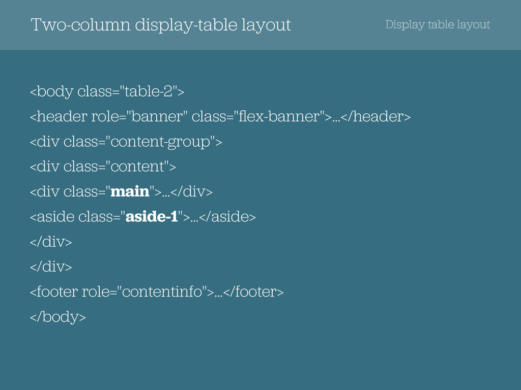 Two-column display-table layout Display table l...