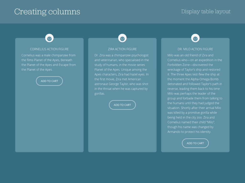 Creating columns Display table layout
