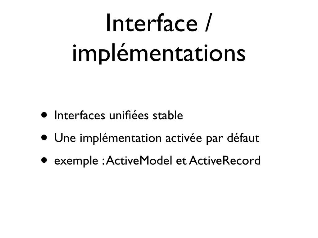 Interface / implémentations • Interfaces unifiée...