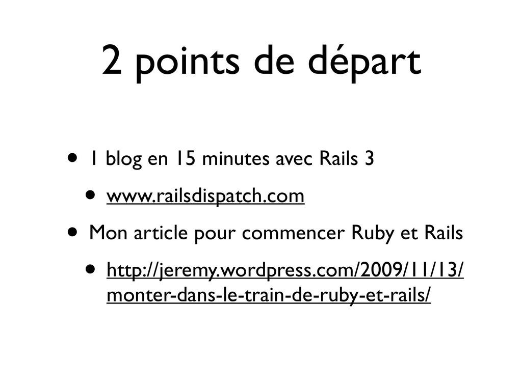 2 points de départ • 1 blog en 15 minutes avec ...