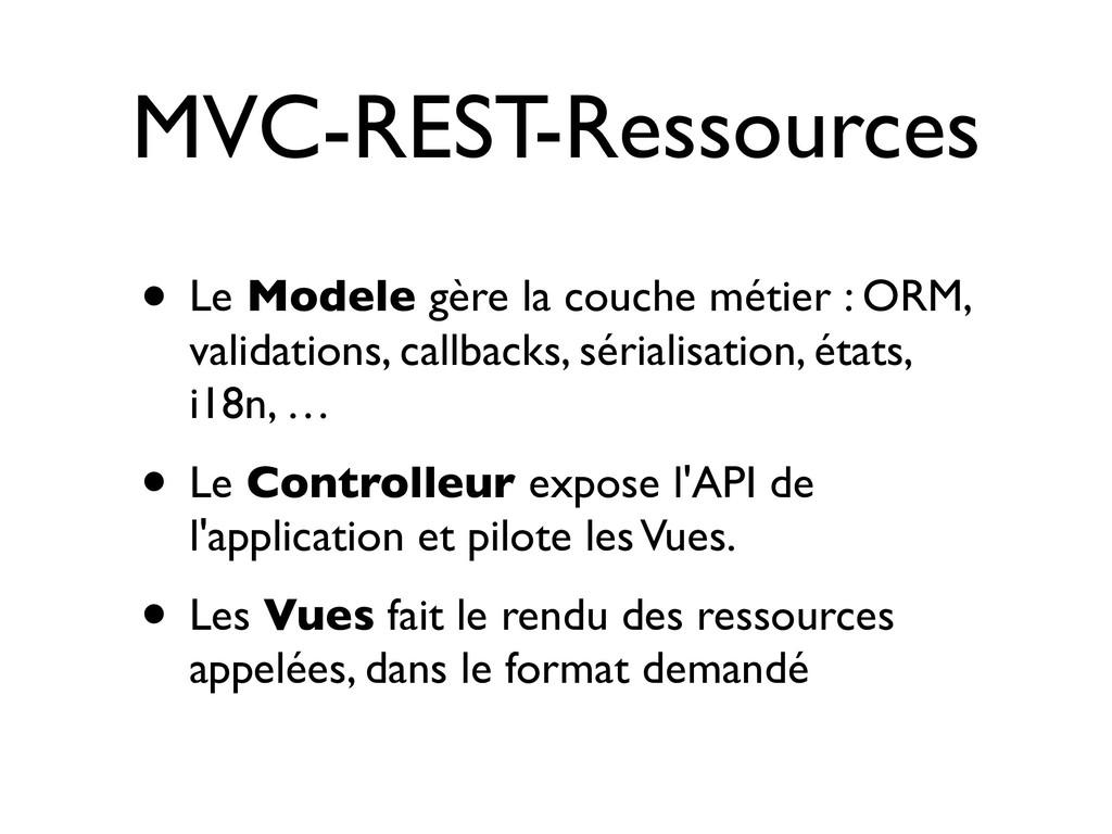 MVC-REST-Ressources • Le Modele gère la couche ...
