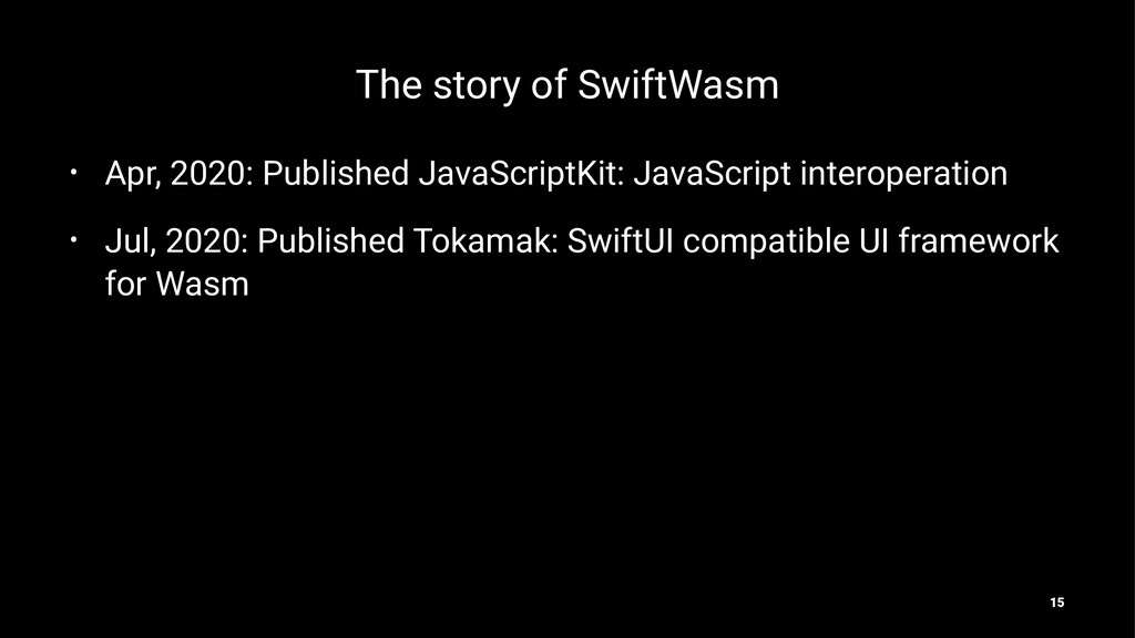 The story of SwiftWasm • Apr, 2020: Published J...