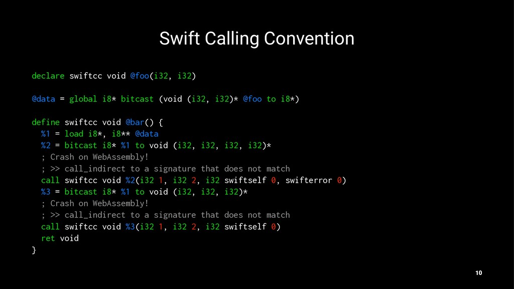 Swift Calling Convention declare swiftcc void @...