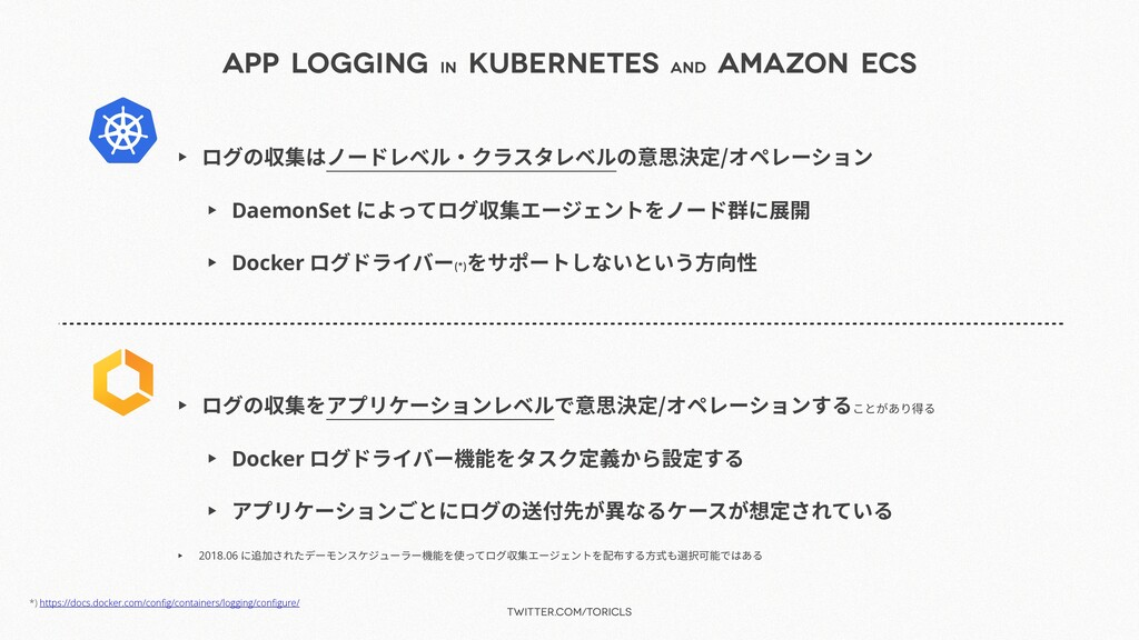 twitter.com/toricls App Logging in Kubernetes a...