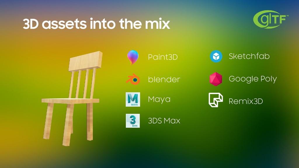 3D assets into the mix Paint3D blender Maya 3DS...