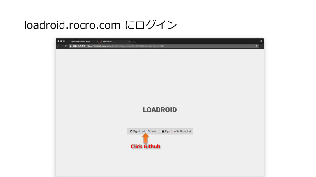 loadroid.rocro.com にログイン Click Github