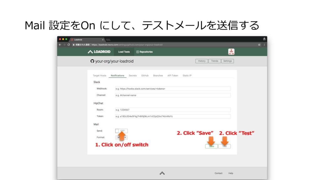Mail 設定をOn にして、テストメールを送信する 1. Click on/off swit...