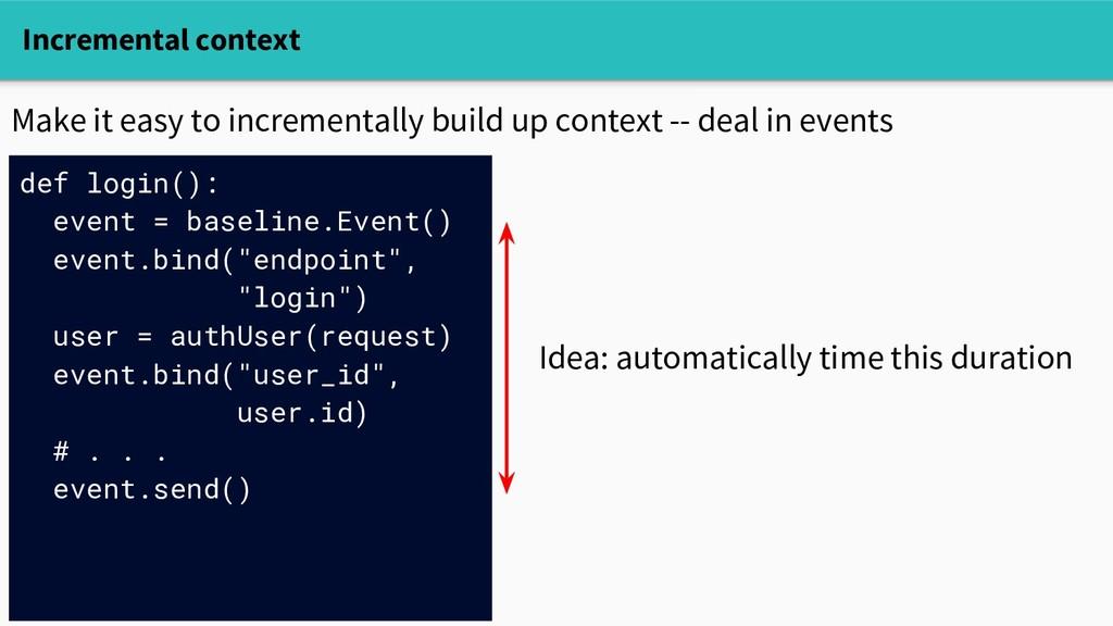 Incremental context def login(): event = baseli...