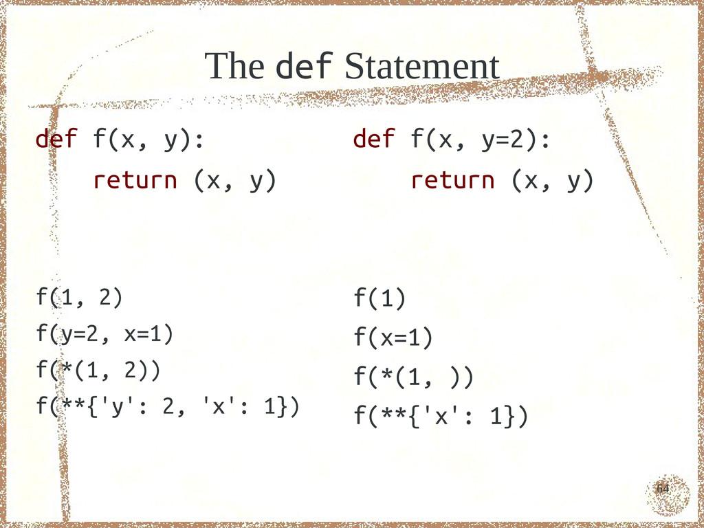 64 The def Statement def f(x, y): return (x, y)...
