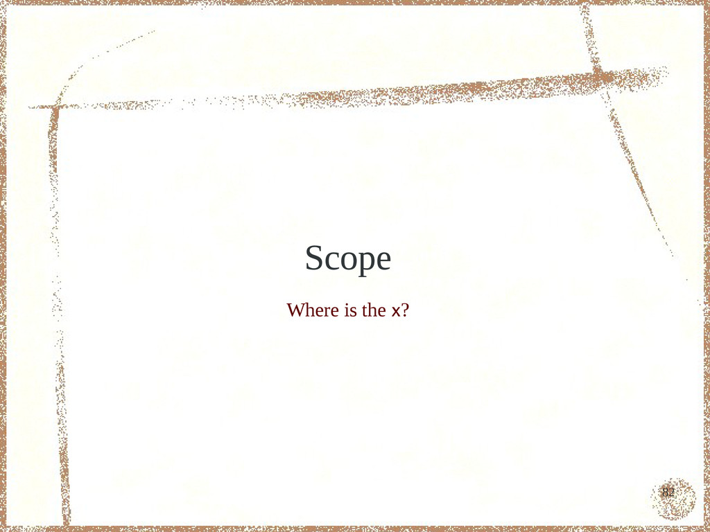 82 Scope Where is the x?
