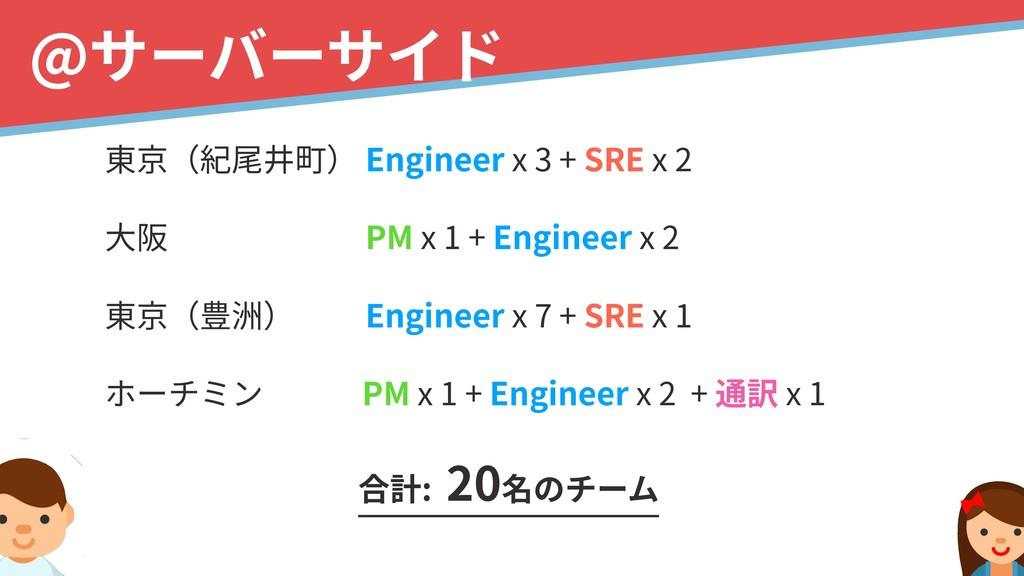 !5 @サーバーサイド 東京(紀尾井町) Engineer x 3 + SRE x 2 ⼤...