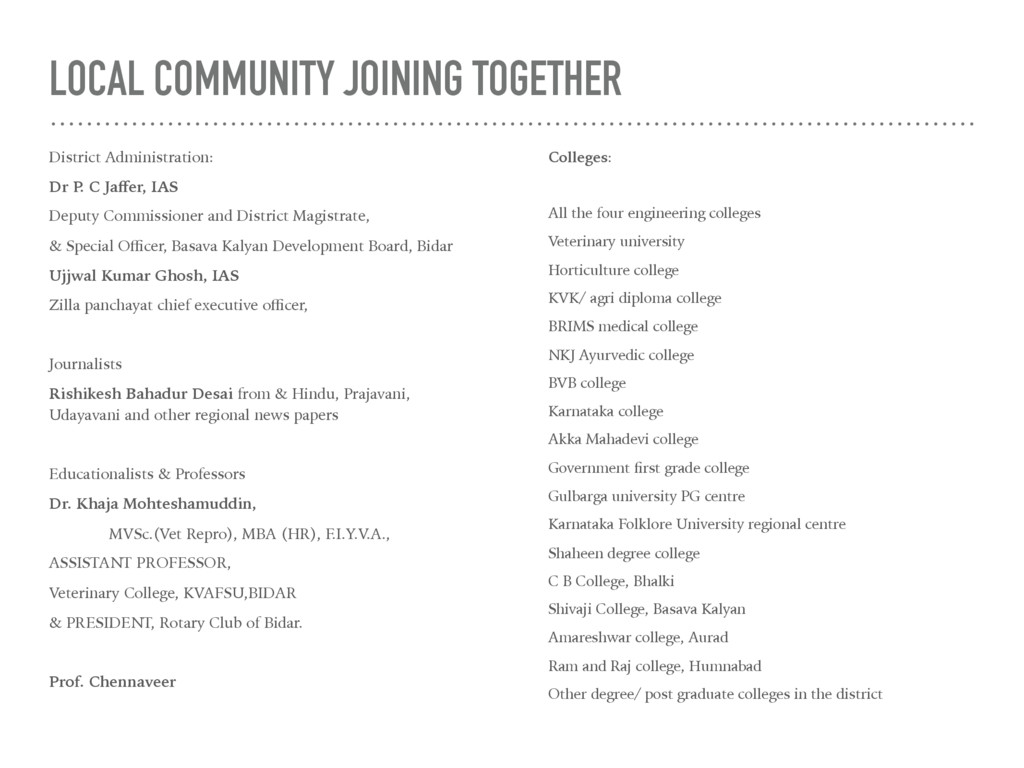 LOCAL COMMUNITY JOINING TOGETHER District Admin...