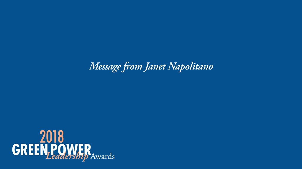 Message from Janet Napolitano