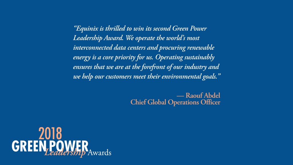 """Equinix is thrilled to win its second Green Po..."