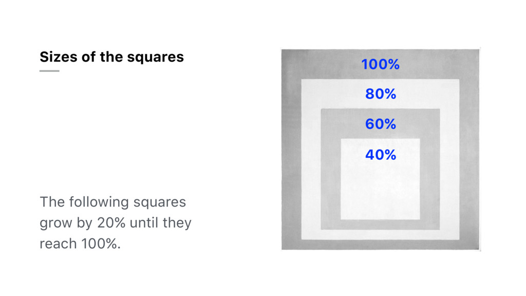 Sizes of the squares The following squares grow...