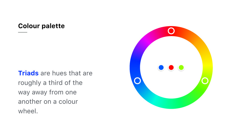 Colour palette Triads are hues that are roughly...