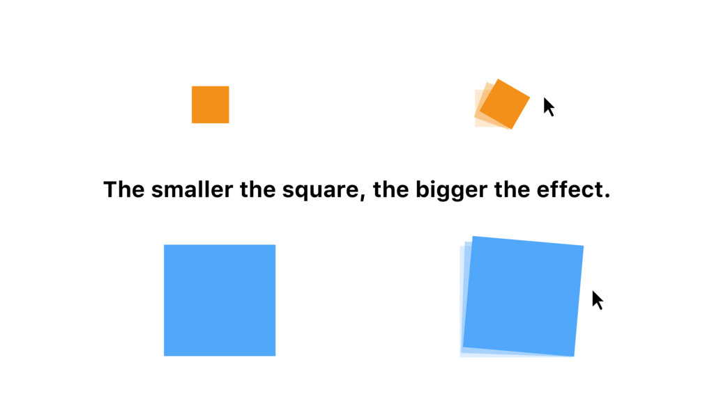 The smaller the square, the bigger the effect.