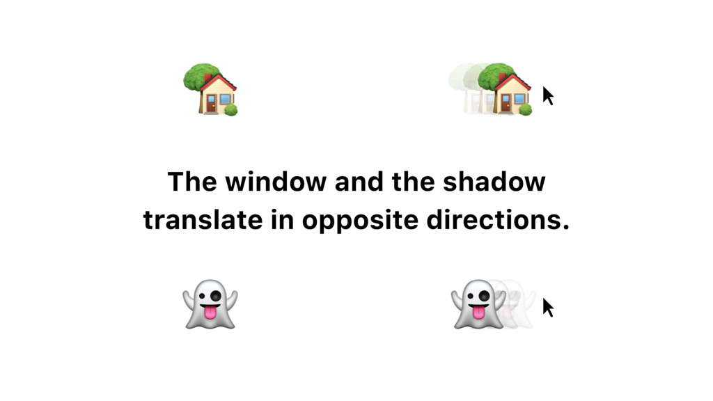 The window and the shadow translate in opposite...