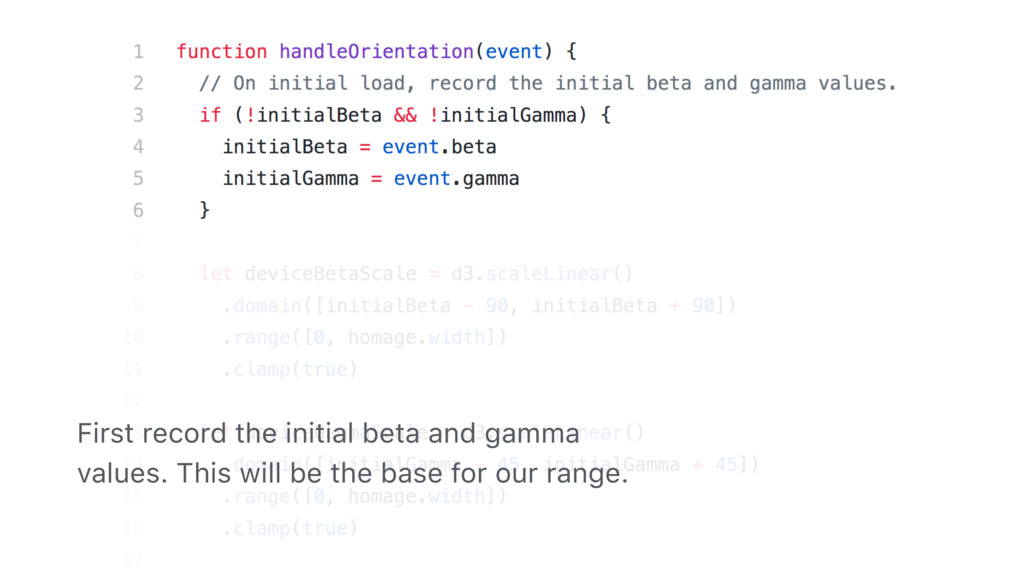 First record the initial beta and gamma values....