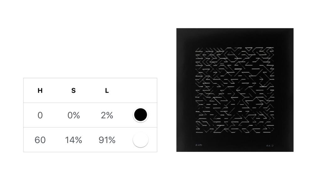 H S L 0 0% 2% 60 14% 91%