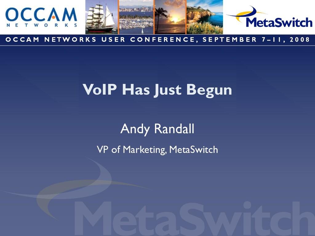 VoIP Has Just Begun Andy Randall VP of Marketin...