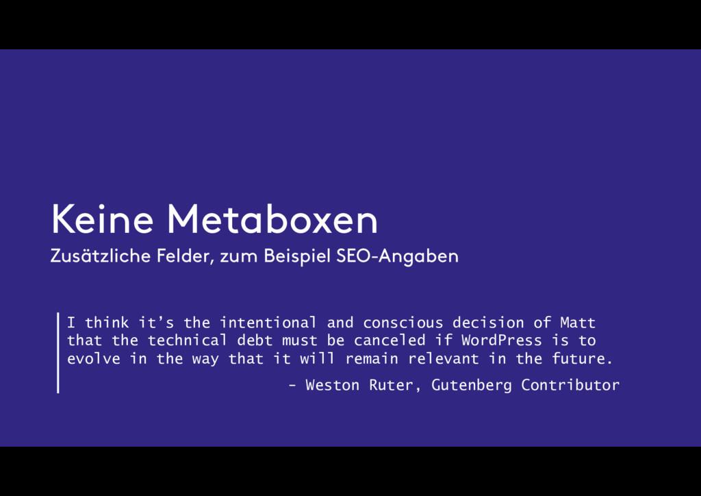 Keine Metaboxen Zusätzliche Felder, zum Beispie...