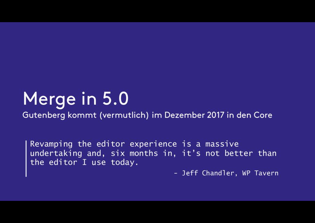 Merge in 5.0 Gutenberg kommt (vermutlich) im De...
