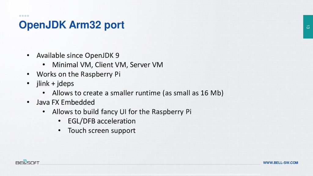13 WWW.BELL-SW.COM OpenJDK Arm32 port • Availab...