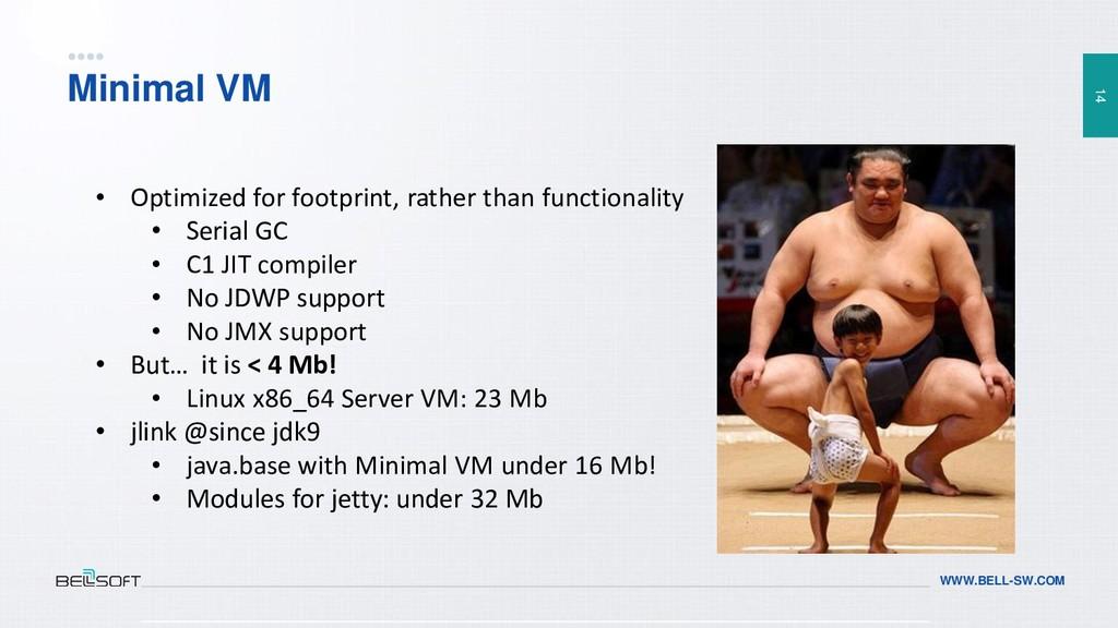 14 WWW.BELL-SW.COM Minimal VM • Optimized for f...