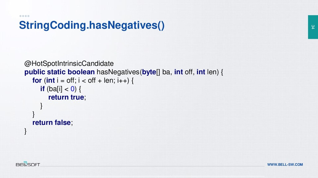 34 WWW.BELL-SW.COM StringCoding.hasNegatives() ...