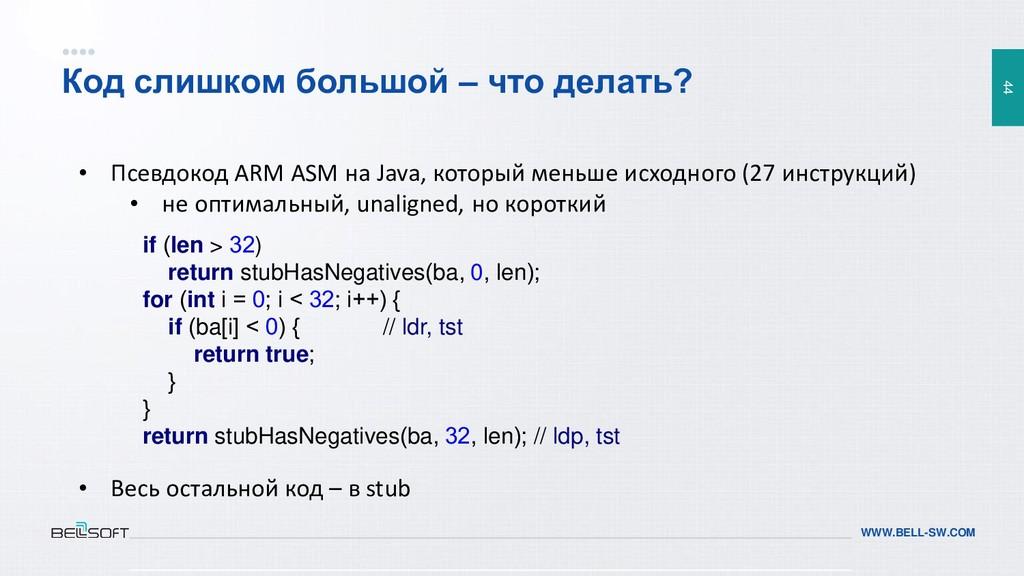 44 WWW.BELL-SW.COM Код слишком большой – что де...